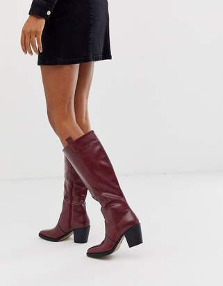 Truffle Collection knee high western boot in burgundy-Red
