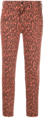 Mother Leopard Print Skinny Jeans