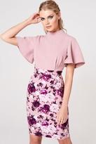 Paper Dolls Kasai Dusty Blush Floral-Print Flutter Sleeve Dress