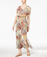 Nine West Printed Cold Shoulder Maxi Dress