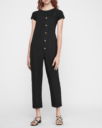 Express Linen-Blend Button Front Overalls