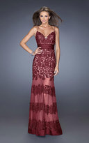 La Femme Sweetheart Floral Lace Striped Evening Dress 20131