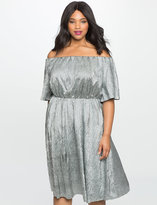 ELOQUII Plus Size Studio Textured Off the Shoulder Dress