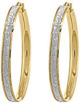 QVC 14K Gold Large Glitter Infused Hoop Earrings