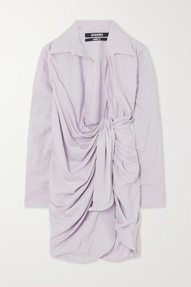 Jacquemus Bahia Draped Twill Mini Wrap Dress - Lilac