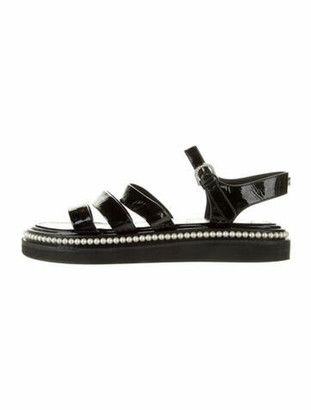 Chanel Faux Pearl Accents Patent Leather Gladiator Sandals Black