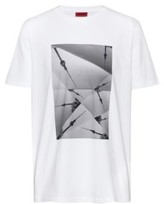 HUGO BOSS - Relaxed Fit T Shirt In Pure Cotton With Collection Artwork - White