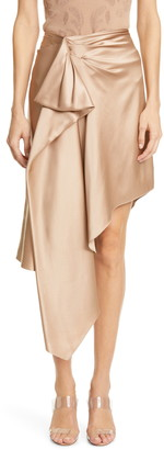 Cushnie Gathered Waist Asymmetrical Silk Satin Skirt