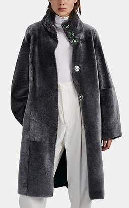 Giorgio Armani Women's Reversible Shearling Coat - Gray