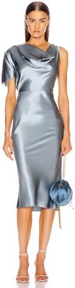 Fleur Du Mal Asymmetrical Cowl Dress in Steel Blue | FWRD