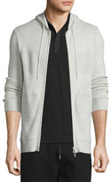 Helmut Lang Cashmere-Blend Paneled Full-Zip Hoodie, Sand Heather