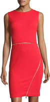 Neiman Marcus Zipper-Detail Sheath Dress, Red