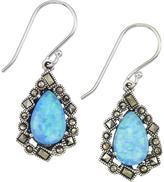 Victoria Crowne Sterling Silver Blue Opal and Marcasite Teardrop Dangle Earrings
