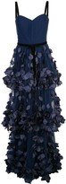 Marchesa Bustier Petals Applique Gown