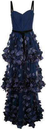 Marchesa bustier petals appliqué gown