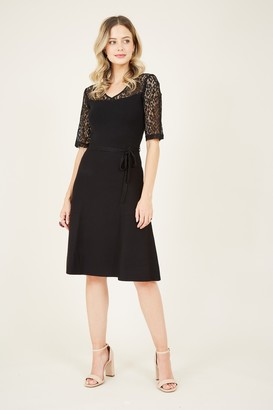 Yumi Black Lace Knit Skater Dress