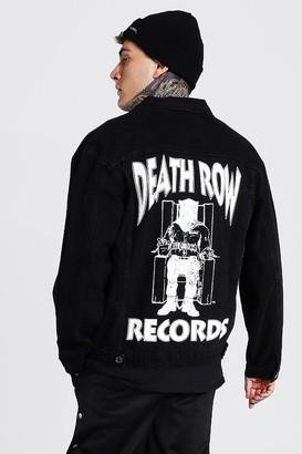 boohoo Mens Black Oversized Death Row License Denim Jacket, Black