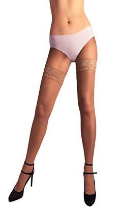 Sheer Thigh High Stockings/Pantyhose Lace Top Silicone Band 20 Denier Made in EU (Medium/Large