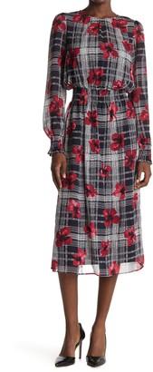 Tommy Hilfiger Floral Plaid Long Sleeve Smocked Chiffon Midi Dress