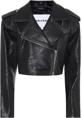 GRLFRND Samara cropped leather biker jacket