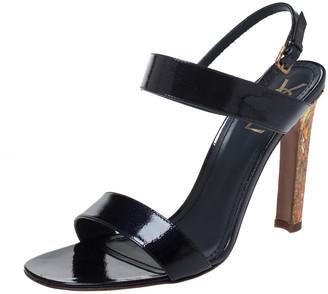 Saint Laurent Blue Patent Leather Ankle Strap Sandals Size 41