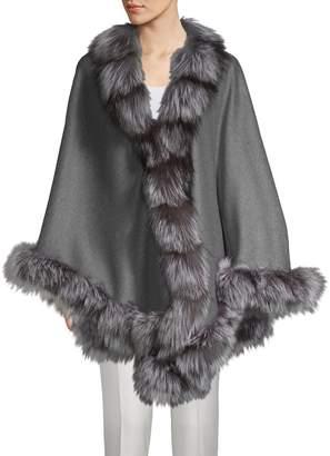 Belle Fare Natural Silver Fox Fur-Trim Wool & Cashmere Cape