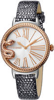 Roberto Cavalli by Franck Muller 34mm Oversize Snake Watch w/ Leather Strap, Silver/Rose