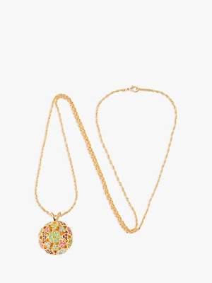 Susan Caplan Vintage D'Orlan 22ct Gold Plated Swarovski Crystal Ball Pendant Necklace, Gold/Multi