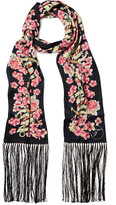Temperley London Treasure Fringed Printed Satin Scarf - Pink