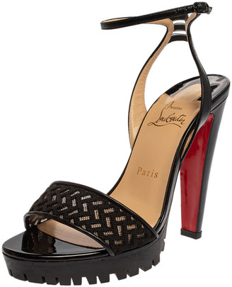 Christian Louboutin Black Leather And Mesh Volumetric Ankle Strap Sandals Size 38.5