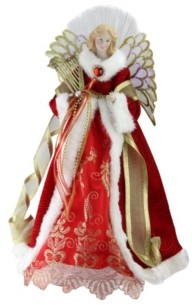 "Northlight 16"" Lighted Fiber Optic Angel in Garnet Red Coat with Harp Christmas Tree Topper"