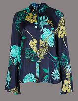 Autograph Floral Print Satin Flute Sleeve Shirt