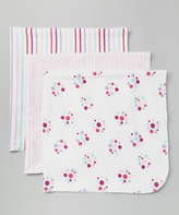 Luvable Friends 28'' x 28'' Pink Dot Receiving Blanket - Set of Three