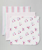 Luvable Friends 28'' x 28'' Pink Dot Receiving Blanket Set