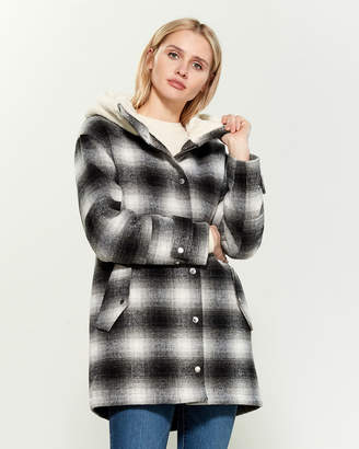 BCBGeneration Sherpa Fleece Hooded Plaid Jacket