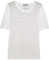 adidas by Stella McCartney Devoré Cotton-blend T-shirt - White