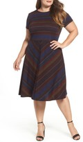 Sangria Plus Size Women's Print Fit & Flare Dress