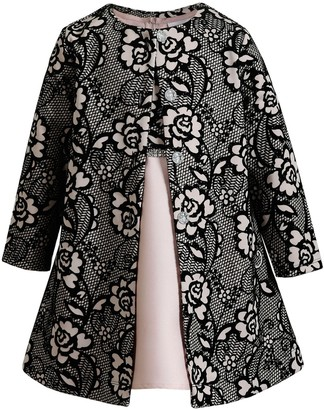 Youngland Girls 4-6x 2-Piece Floral Bodice Dress & Allover Flocked Coat Set