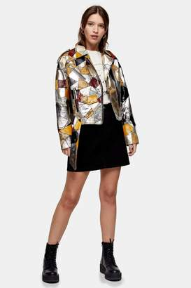 Topshop Womens Considered Recycled Leather Patch Vinyl Jacket - Multi