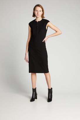 Akris Punto Cap-Sleeve Zip-Front Seamed Dress, Black