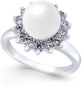 Charter Club Silver-Tone Imitation Pearl and Crystal Flower Statement Ring, Only at Macy's
