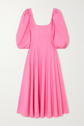 STAUD Swells Pleated Linen-blend Midi Dress - Pink