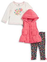 Kids Headquarters Girls 2-6x Puffer Vest Hedge Hog Tee and Leggings Set