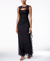Betsy & Adam B&A by Lace-Trim Cutout Ruched Gown
