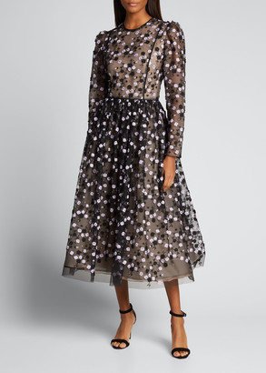 J. Mendel Floral-Embroidered Tulle Long-Sleeve Midi Dress