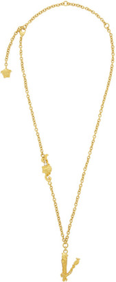 Versace Gold V Leaves Necklace
