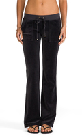 Juicy Couture Velour Bootcut Pant with Snap Pockets