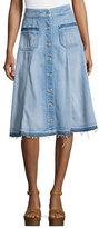 7 For All Mankind Button-Front Flowy Denim Midi Skirt, Indigo