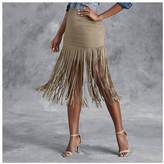 Faux Suede Fringe Skirt