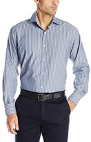 Thomas Dean Men's 2 Button Spread Collar Textured Stripe Shirt